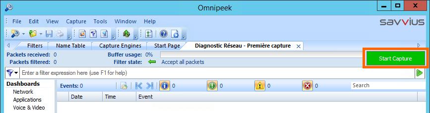 Lancer le diagnostic réseau avec Omnipeek