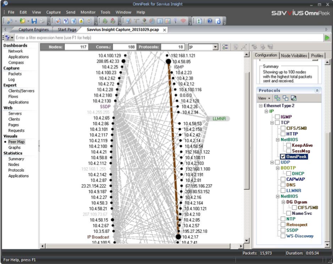 Déplacer une station permet une meilleure visibilité. Le menu de droit permet aussi de sélectionner ce que doit afficher la Peer Map