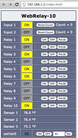 Les relais sont directement pilotables depuis l'interface web du WebRelay-10