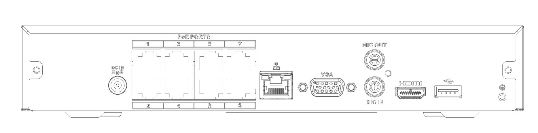 Ports de l'enregistreur NVR4108HS-8P-4KS2