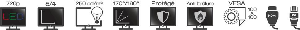 Achat écran vidéosurveillance iPure GV17 - Livré 24/48h