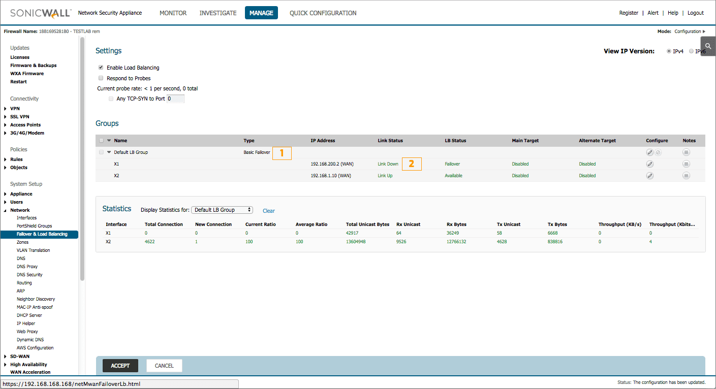Configuration d'un lien de secours avec basculement automatique sur un SonicWall