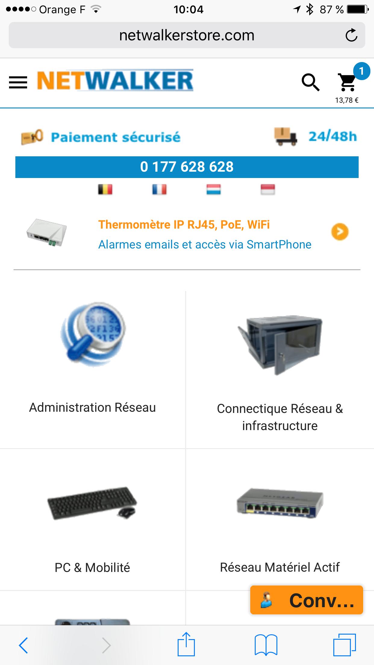 Nouveau look du site mobile NetWalkerStore