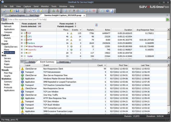 Le système expert analyse automatiquement les problèmes potentiels et les affiche par application
