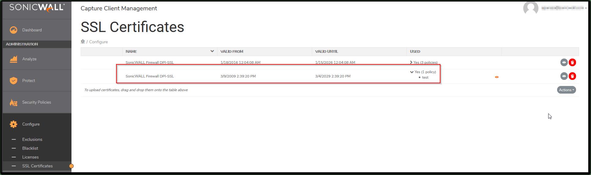 Le certificat SSL est maintenant associé à la police 'test'