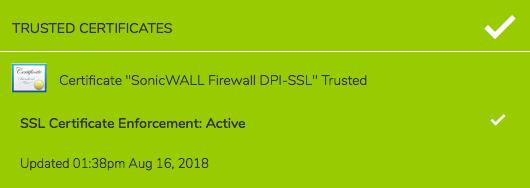 Sur le poste PC ou Mac, Capture Client infique le certificat utilisé et le renforcement de la sécurité : Certificat Trusted